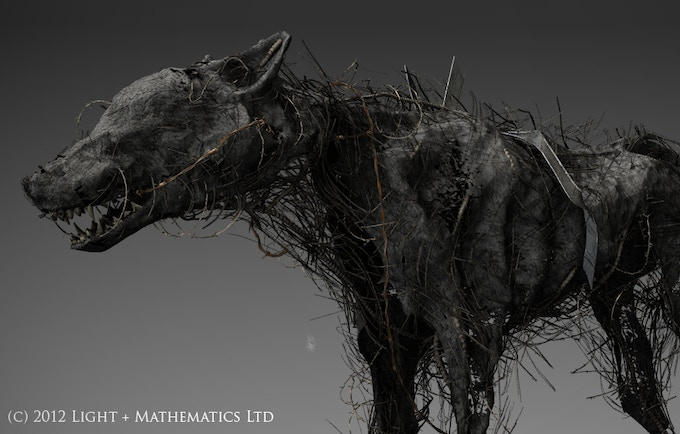 """3D render  of """"demon dog"""", one of the waking visons that haunt the vagrant."""