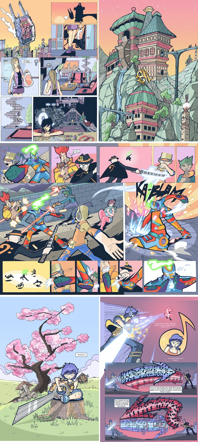 pages from my first graphic novel, 7STRING Volume 1