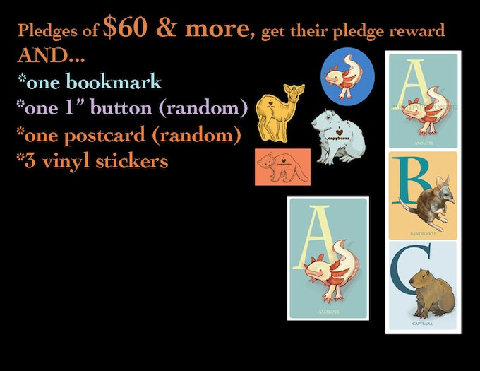 "For pledges of $60+ you get a FREE bookmark, 1"" button, 3 vinyl stickers & a postcard!"
