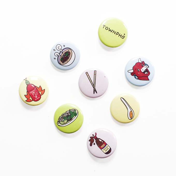 Illustrated Phở Button Set