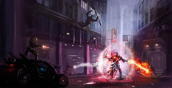 From Dusty Crosley...our iconic heroes doing battle with a possessed Infernalist in downtown Haven.  It is the first in what will be a series of action scenes illustrating the adventures one can experience in Emergence.
