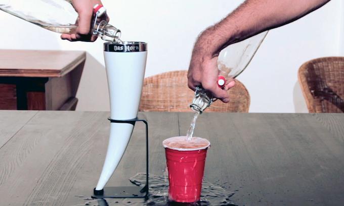 The Das Horn undergoing rigorous beverage testing
