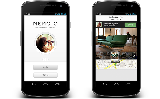 Concept images of the Android app. Left: Login screen. Right: Moment view in private mode.