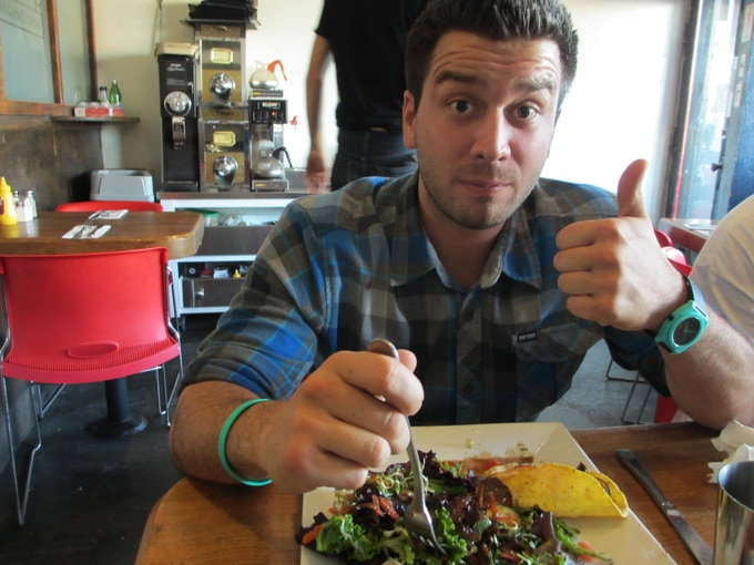 Cody (on the crew) loved his portabello tacos and salad from Cafe Flore!