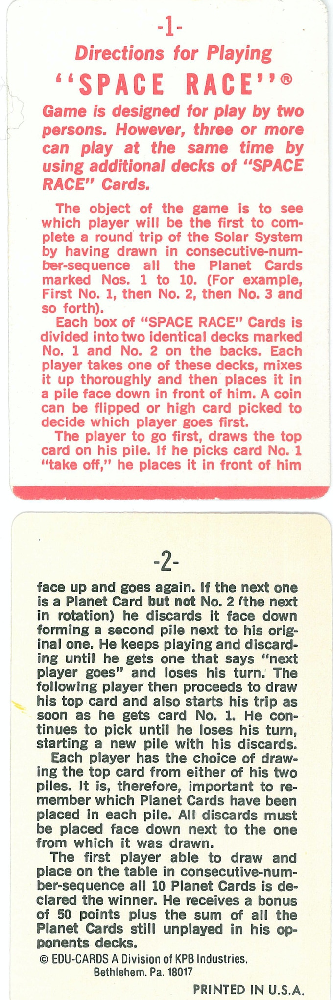 Space Race Game Rules