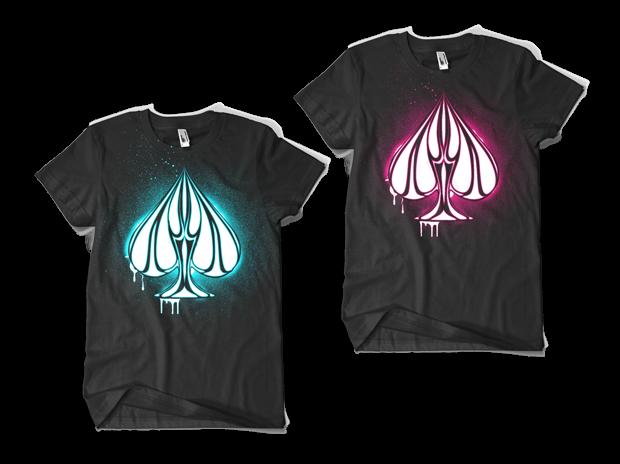 Urban Punk Shine Bright T-Shirt Design (Left: Blue on Black, Right: Pink on Black)