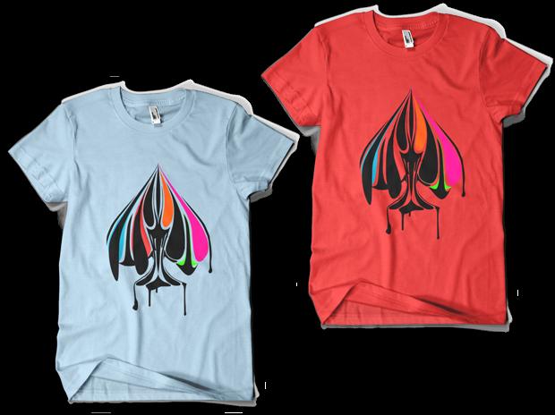 Urban Punk True Colors t-shirt Design (Left: Light Blue, Right: Red)