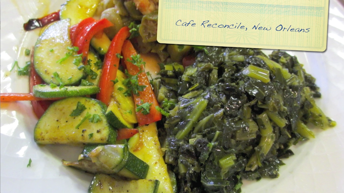 collard greens, sauteed vegetables, and smothered okra with shrimp