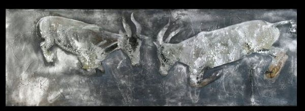 """""""Topei Fight in Silver"""" 2005, Oil on linen"""