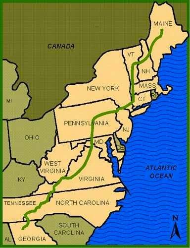 Fourteen states from Georgia to Maine.