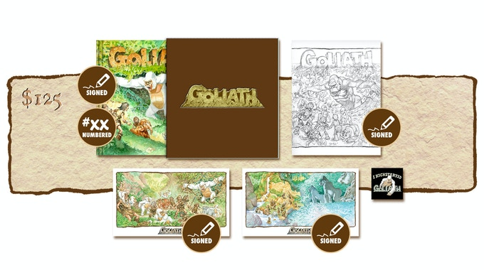 """DELUXE SIGNED AND NUMBERED KICKSTARTER EXCLUSIVE """"GOLIATH ARRIVES!"""" SLIP-CASED VARIANT COVER EDITION PLUS SIGNED SKETCHBOOK COVER #2"""