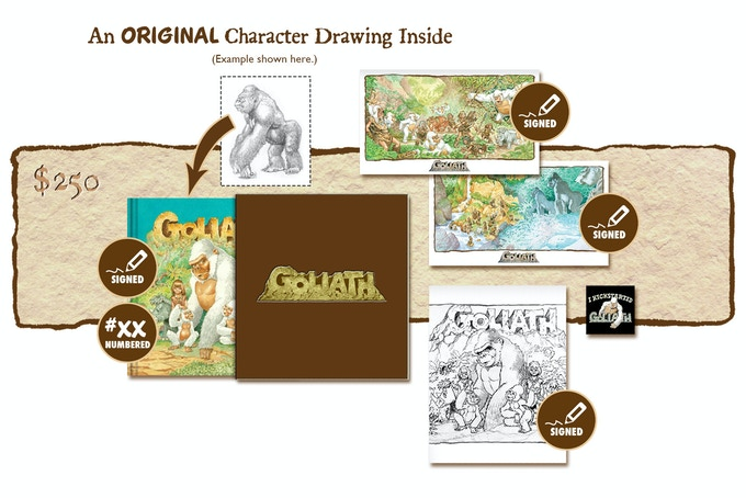 """DELUXE SIGNED AND NUMBERED KICKSTARTER """"PUBLISHER'S COVER"""" SLIP-CASED EDITION CONTAINING AN ORIGINAL GOLIATH CHARACTER DRAWING BY MICHAEL PLOOG"""