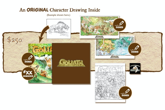 """DELUXE SIGNED AND NUMBERED KICKSTARTER EXCLUSIVE """"GOLIATH ARRIVES!"""" SLIP-CASED VARIANT COVER EDITION CONTAINING AN ORIGINAL GOLIATH CHARACTER DRAWING BY MICHAEL PLOOG"""