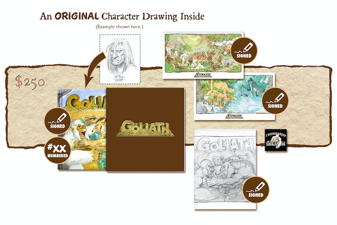 """DELUXE SIGNED AND NUMBERED KICKSTARTER EXCLUSIVE """"BATTLE OF THE BEHEMOTHS!"""" SLIP-CASED VARIANT COVER EDITION CONTAINING AN ORIGINAL GOLIATH CHARACTER DRAWING BY MICHAEL PLOOG"""