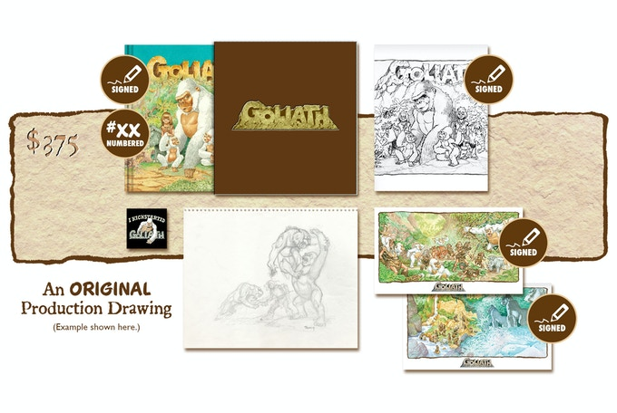 """DELUXE SIGNED AND NUMBERED KICKSTARTER """"PUBLISHER'S COVER"""" SLIP-CASED EDITION PLUS AN ORIGINAL GOLIATH PRODUCTION DRAWING BY MICHAEL PLOOG"""