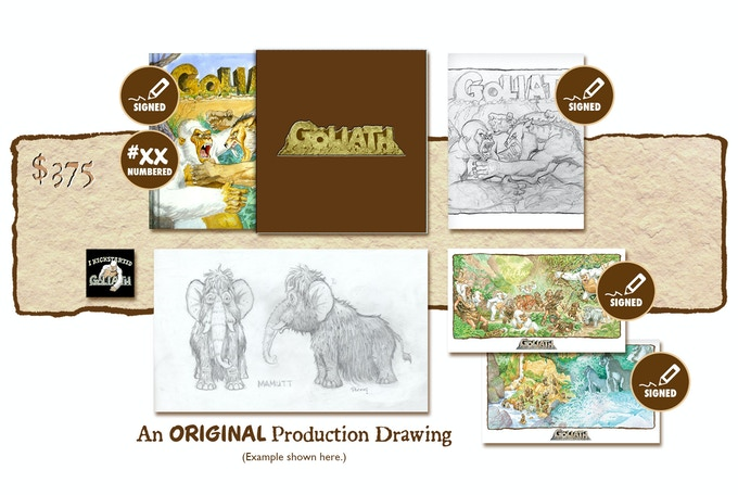 """DELUXE SIGNED AND NUMBERED KICKSTARTER EXCLUSIVE """"BATTLE OF THE BEHEMOTHS!"""" SLIP-CASED VARIANT COVER EDITION PLUS AN ORIGINAL GOLIATH PRODUCTION DRAWING BY MICHAEL PLOOG"""