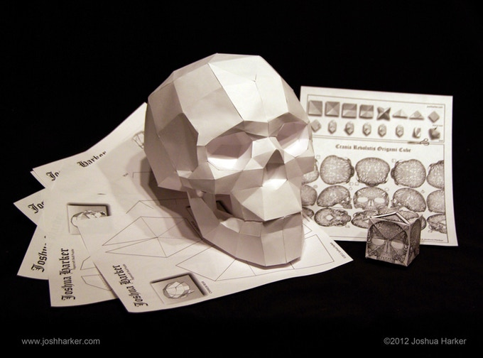 Papercraft Skull & Origami Cube Puzzles (click to view in 3D)