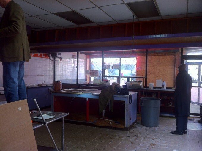 Interior of 1 W North Avenue prior to the start of renovations.