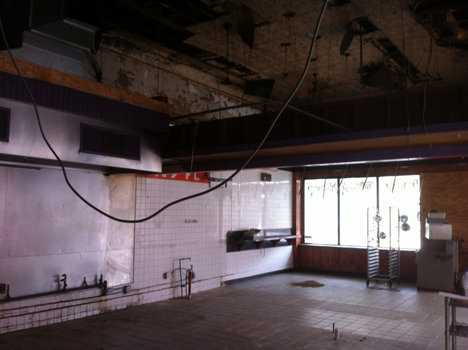 Interior of 1 W North Avenue after the start of demolition.