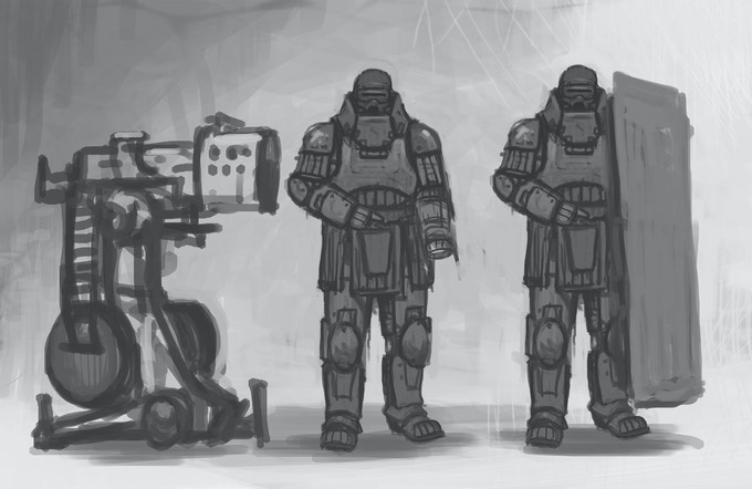 Heavy weapon crew with power armor. Might bulk them up a bit yet.