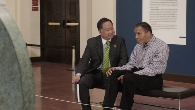 Director Ty Kim and Muhammad Ali on set during a recent documentary about Native American culture and art.