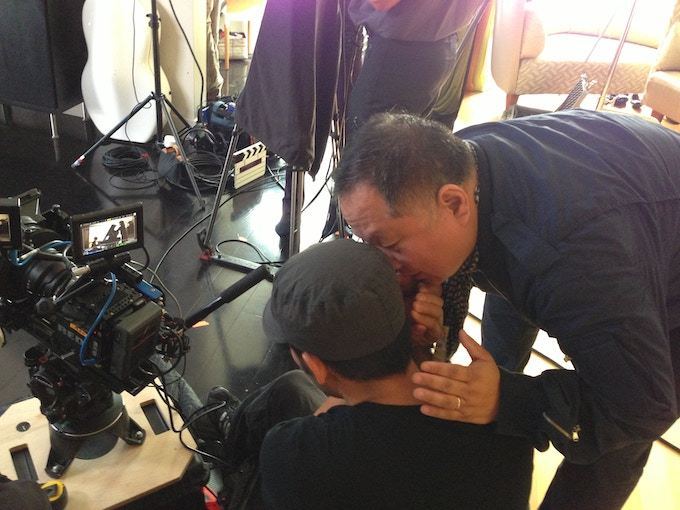 Cinematographer David Y. Chung and Director Ty Kim confer on how best to capture a shot while on set.