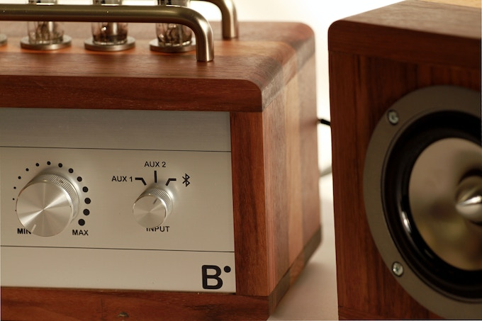 Close-up of BlueTube amplifier and speaker