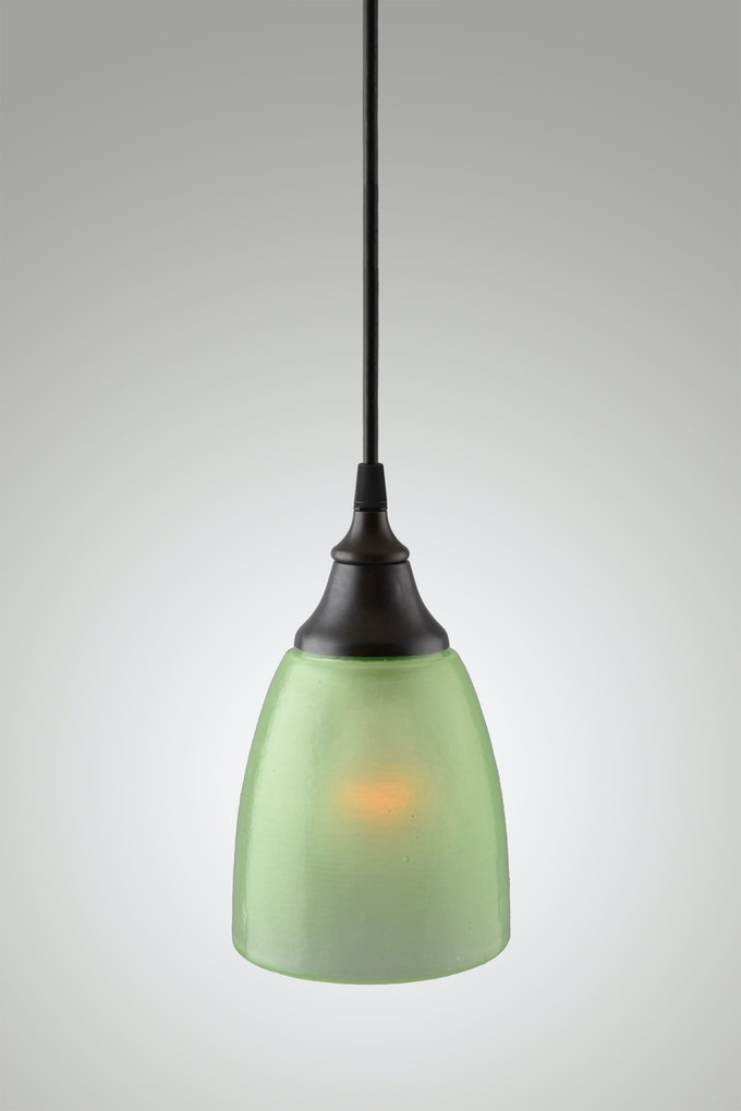 Sandblasted Celery Shade with Oil Rubbed Bronze Fixture