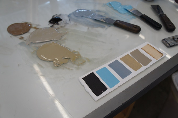 wintery colors of printing ink.