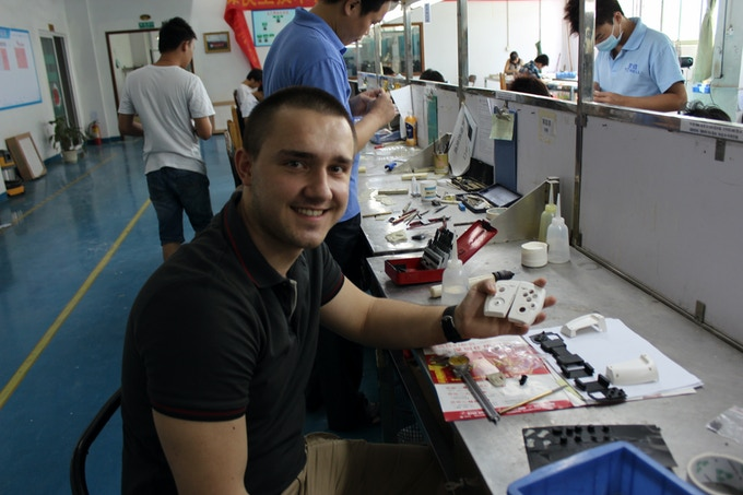 Alex working on one of the recent prototypes right at the factory site in Shenzhen, China.