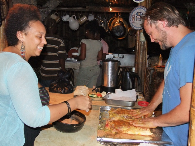 Shanks shares Kansas City style BBQ techniques in Boston Bay, Jamaica.