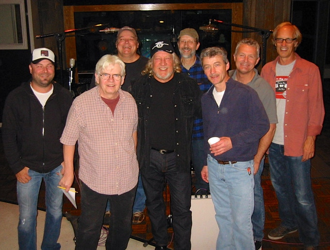 John Anderson in the studio October 29th with (left to right) guitarist Guthrie Trapp, bassist David Hungate, guitarist Bill Hullett, John Anderson, pianist Jeff Taylor, pedal steel guitarist Buck Reid, drummer Billy Thomas and Steve Fishell.
