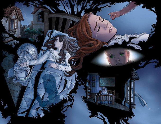 """2 page spread preview (unlettered) This part adapted from """"The Little White Bird"""""""