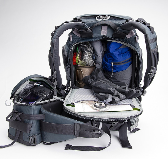 The large 17 liter back/top access upper compartment can be used to hold essential non-photo gear.