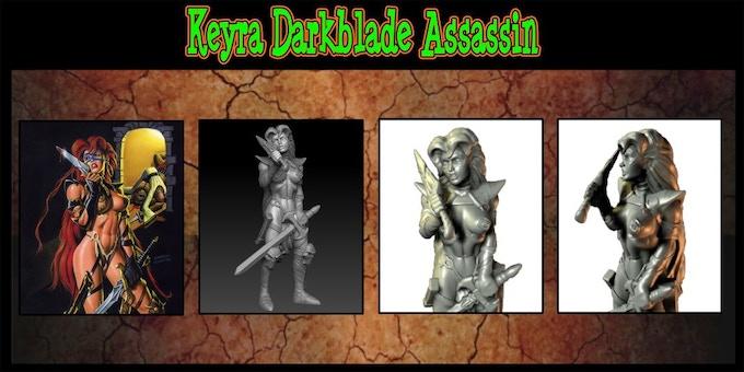 Keyra Darkblade Assassin Sculpted by Clint Maclean.