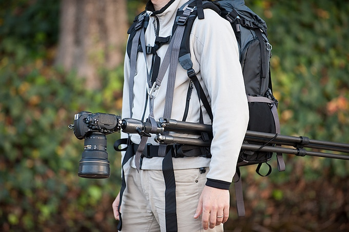 Included as a bonus in the Deluxe pledge package, the Tripod Suspension Kit is an innovative accessory that allows hands-free mobility with your tripod-mounted camera attached to the shoulder harness.