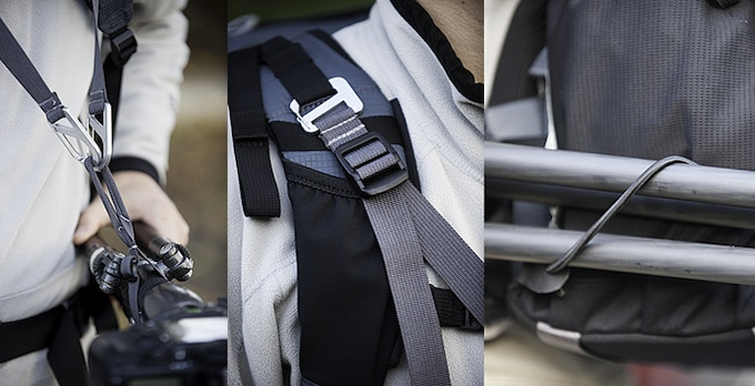Tripod Suspension Kit details: Tripod connection strap fits most tripods. The adjustable Suspension Straps connect to shoulder harness and tripod strap with burly spring gate hooks. Tripod legs tuck into shock-cord on pack's left side.