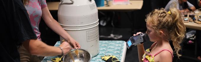 Leah filming the Liquid Nitrogen Ice Cream Social