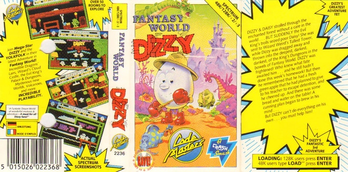 Sleeve from Fantasy World Dizzy (1989)