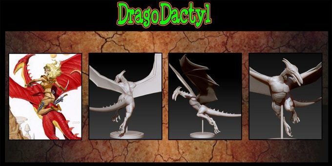 Sculpted by Rodrigo Villaneuva. Will be cast in High Quality Resin. DragoDactyl counts as two Damsel choices or may be added as an extra for $15.00 each..