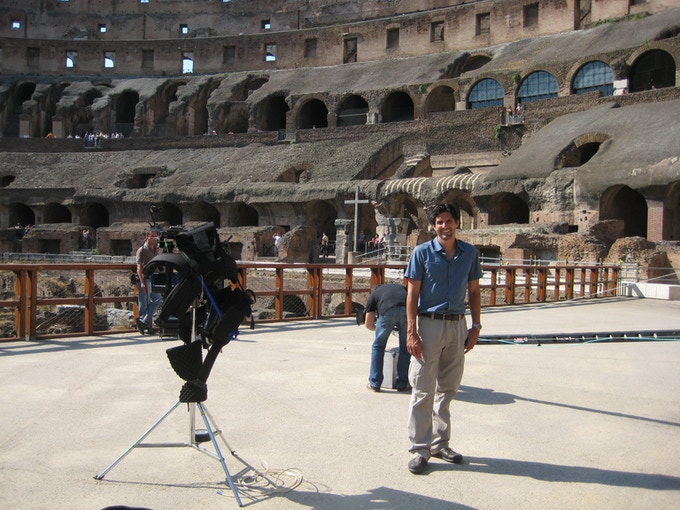 Work and play- here at on the reconsructed arena floor of the Colosseum.