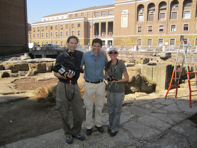 Some of the crew on site in Rome.