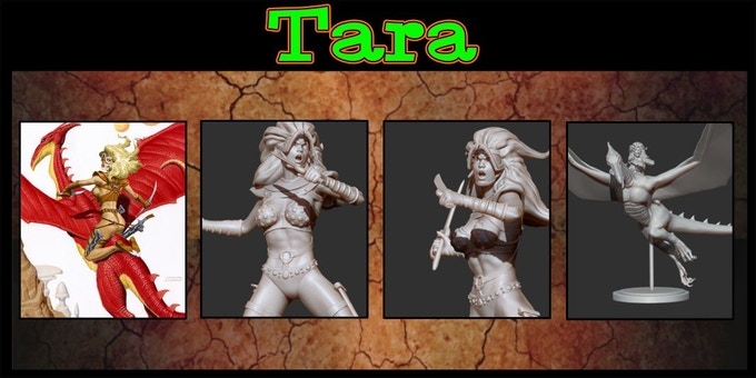 Sculpted by Rodrigo Villaneuva. You may purchase Tara without her Dragodactyl for one Damsel choice.