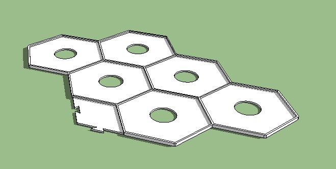 A whole board in one piece was too large to store conveniently, so it was broken up into three interlocking pieces