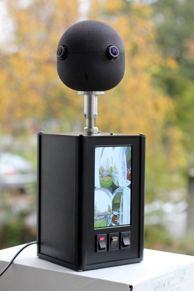 "Sphericam includes a GPS-enabled Camera unit, and a Recording unit with 4.3"" monitor."