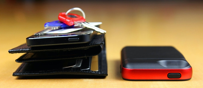 Leather Wallet With iPhone 5 and Keys Next to SAFE Wallet for iPhone 5: Before & After