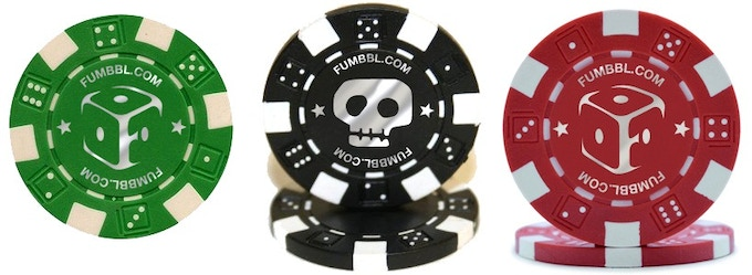The chips will be 11.5g striped dice poker chips in your choice red, black and/or green and heat stamped in silver foil. One side will have the FUMBBL F-logo and the other the skull. This image is for mockup purposes only, the final product may vary.