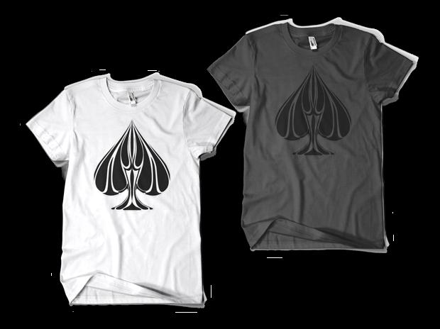Urban Punk Ace Straight Up T-Shirt Design (Left: White, Right: Asphalt)