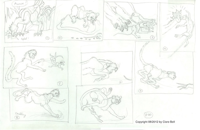 Rough storyboard sample by Clare Bell