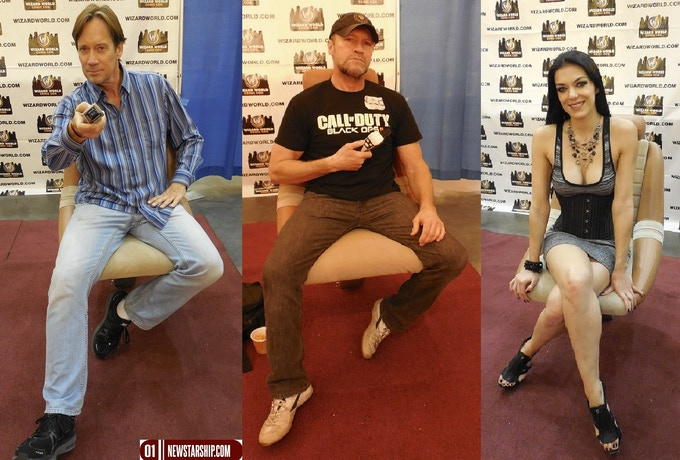 Kevin Sorbo, Michael Rooker and Adrianne Curry sitting in our Chairs